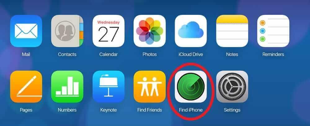 """選擇""""查找iPhone""""圖標"""