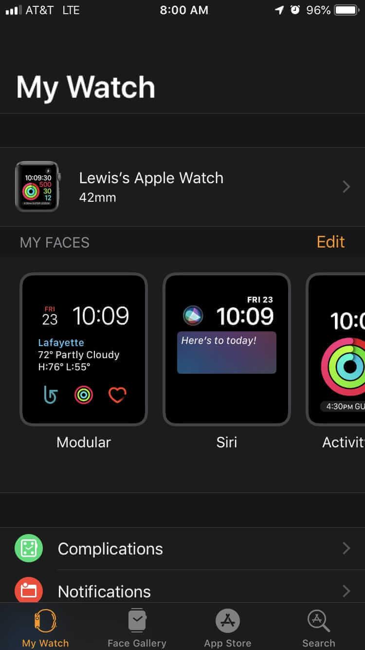 選擇你要取消配對的Apple Watch