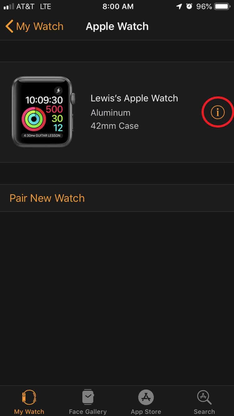"""點擊Apple Watch旁邊的"""" i"""""""