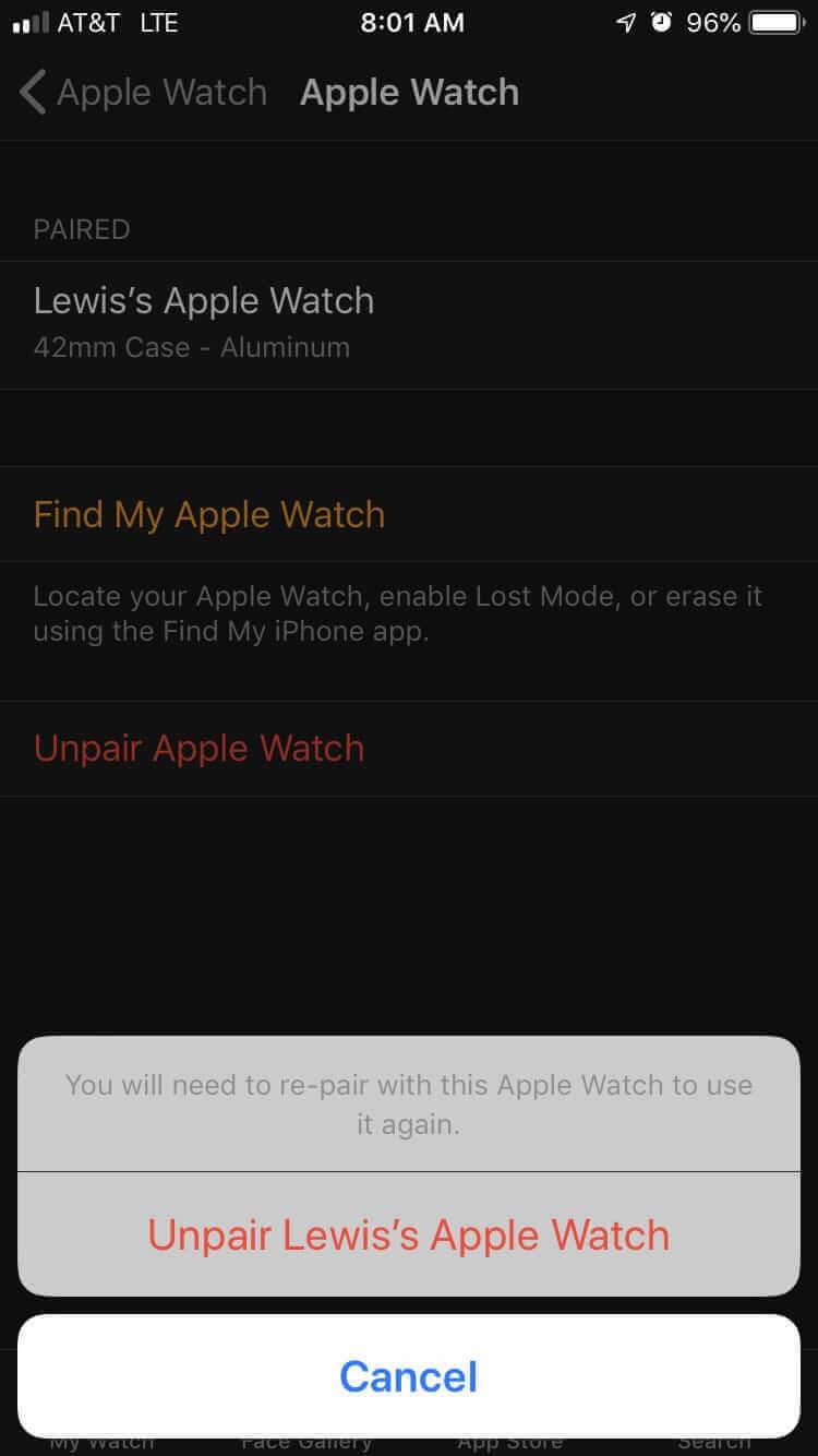 """點擊""""取消配對Apple Watch"""""""