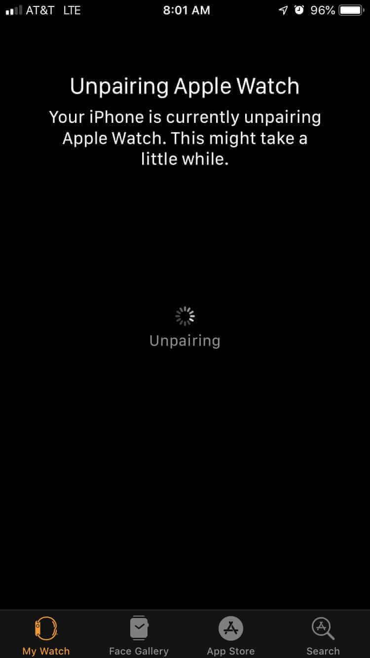 等待Apple Watch取消配對