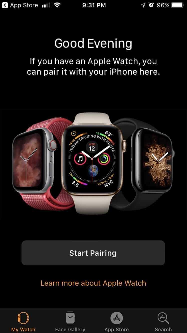 打開Watch應用並手動開始